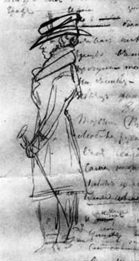 """Пушкин. Автопортрет в полный рост, в картузе, с тростью на рукописи главы """"Евгения Онегина"""", январь 1826"""